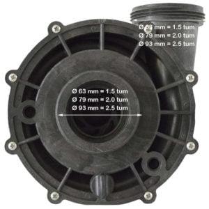 Bild som illustrerar pump-anslutningar och motsvarande diameter i mm.